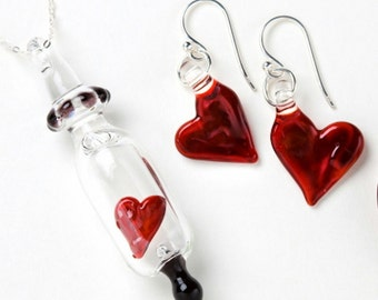 Glass Heart in a Vial Pendant and Earrings Set