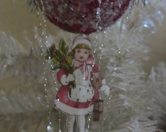 Beautiful Vintage Style Balloon Ornament Burgundy Foil with Tinsel and Antique Winter Girl Paper Scrap