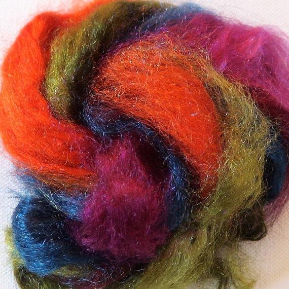 Hand dyed firestar roving sparkle nylon 1/2oz pack 1