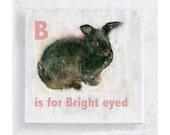 ABC Art - Kids Wall Art - Nursery Art - Alphabet Art -  5x5 Art Block - B is for Bright Eyed - Animal Portrait - Wall Art - Home Decor