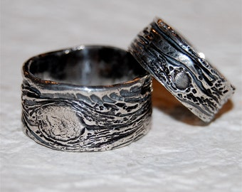 Nature Wedding Rings his and hers set Tree Bark bands eco-friendly silver BLACK PAIR rustic unique urban primitive simple rings distressed