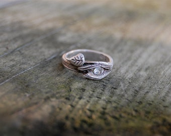 twig wedding ring branch ring white sapphire band engagement nature gift bark leaf branches anniversary - Nature Wedding Rings