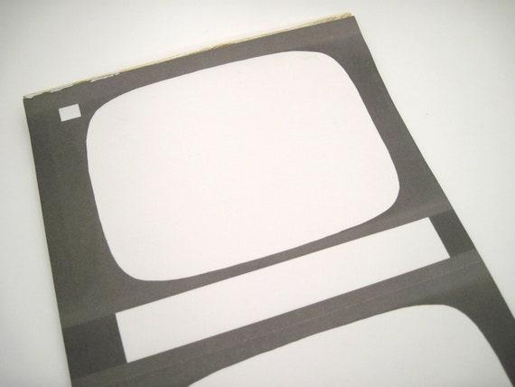 Vintage Ephemera - Collage Paper - TV set paper - Television paper - Unique Paper
