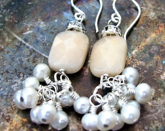 Tulene Bijoux Romantique Yellow Quartz with White Pearl Sterling Silver Earrings