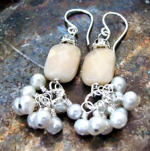 Tulene Bijoux Romantique Yellow Quartz with White Pearl Sterling Silver Earrings