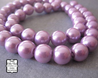 Lavender PurplePearl Beads - 1 Strand of Pearls - 10mm - Glass - Pastel Blue Green