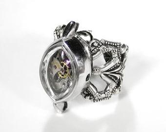 Steampunk Jewelry Ring Vintage BULOVA Watch Rose Swarovski Crystal Gears Adjustable Silver Girlfriend Ring - Steampunk Jewelry by edmdesigns