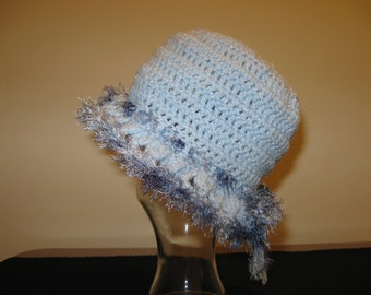 Light Blue Brim Hat with Shaded Blue Trim