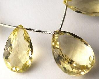 AAA Lemon Quartz Faceted Long Pear Briolettes-Matched Pair