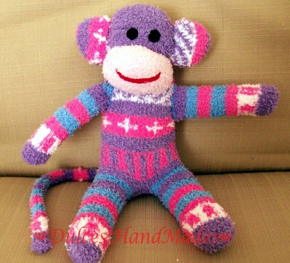 sock monkey plush toy Handmade Stuffed Animal Doll Baby Large
