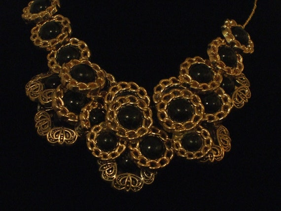 "Handmade-Wire Wrapped-Choker Necklace-Bracelet-Earrings-Buttons-Costume Jewelry Set-Black Dress-Statement- ""Symmetry"""