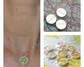 Handwritten Engraved Petite Vintage Map Sterling Silver 16 inch Necklace.  You Select Journey.
