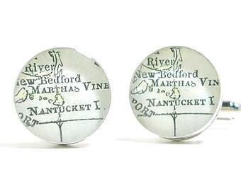 Nantucket 1899 Antique Map Cufflinks