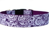 Wide 1 1/2 inch Adjustable Buckle or Martingale Dog Collar in Grape Crush