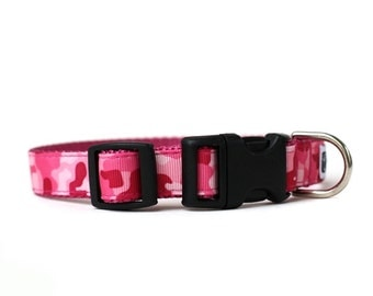 5/8 or 3/4 Inch Wide Dog Collar with Adjustable Buckle or Martingale in Pink Camo