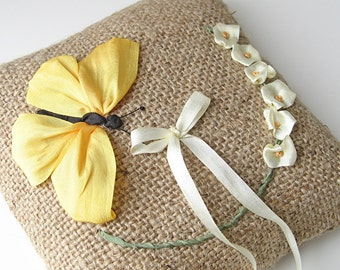 Ring bearer pillow,  yellow butterfly ring holder, rustic boho wedding pillow, silk ribbon embroidery, embroidered ring pillow