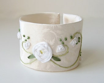 White silk rose wedding cuff, bridal accessory, silk ribbon embroidery, embroidered bracelet