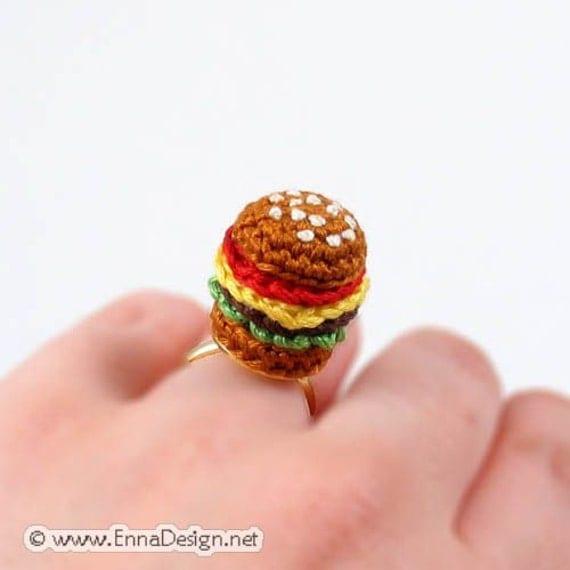 Amigurumi Adjustable Ring : Crochet Amigurumi Miniature Hamburger Ring RG-8-2739