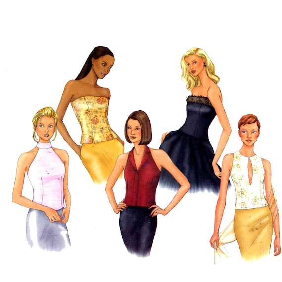 Halter keyhole front strapless tops sewing pattern Butterick