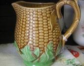 Vintage Japan Majolica CORN PITCHER Pottery