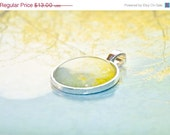 60% OFF SALE Cottage Chic Jewelry - Willow-photo pendant wearable art round silver colored metal - blue yellow cottage chic jewelry