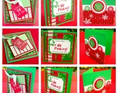 3x3 Christmas Cards, Mini Note Cards, Large Gift Tags, Red and Green with Christmas Sentiment, Snowflakes, Elf, Gift Wrap Supplies