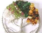 Tree of Life necklace - Four Seasons - Winter Spring Summer Fall Moonstone Quartz Crystal Peridot Pink Tourmaline Emerald Baltic Amber