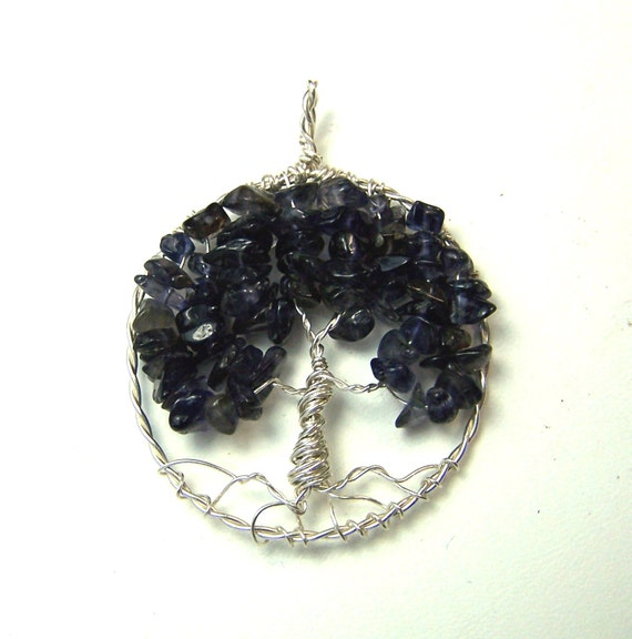 Sapphire - Tree of Life - necklace - pendant - Sapphire Blue - Water Sapphire - Iolite - Sterling Silver Tree of life - September birthstone