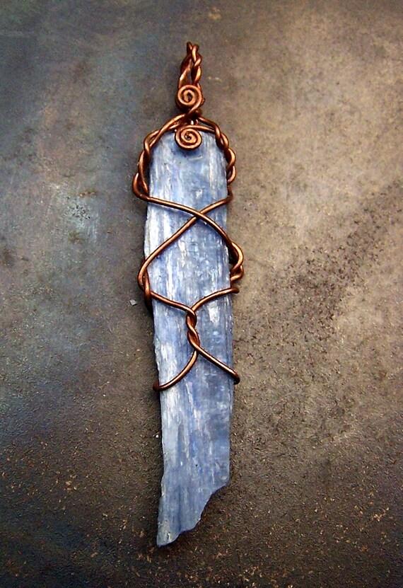 Kyanite Wire wrap necklace Pendant - Copper wire wrap - Kyanite Crystal blade - pendant - necklace - Kyanite - blue - black leather
