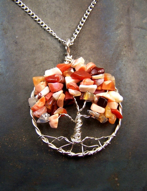 Fire Opal -  Tree of Life - Necklace - Pendant - Tree of Life pendant - Genuine Opal - October birthstone - Sterling Silver