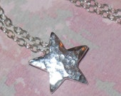 Tiny Hammered Silver Star Pendant on Sterling Silver Chain Handmade Necklace