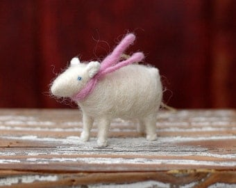 Lamb with a Pink Scarf - Needle Felted Christmas Ornament