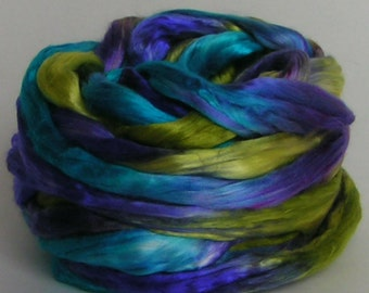 Silk Sliver Top Mulberry Roving Fiber BAHAMAS Luxurious Supreme Quality Hand Painted for Handspinning 2 ounces