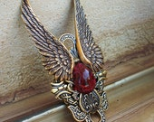 Large Angel Wings Ring // Antique gold statement red ring // Women's or Men's adjustable ring // Steampunk jewelry gothic