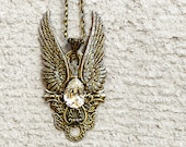 Brass Wings Pendant with Clear Swarovski Crystal Antique Brass Necklace Large Brass Pendant Gothic Steampunk Jewellery