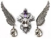 Swarovski Jewelry Set Silver Purple Swarovski Clear Crystal Swarovski Wings Earrings Swarovski Bridal Jewelry Set Wedding Jewelry Set