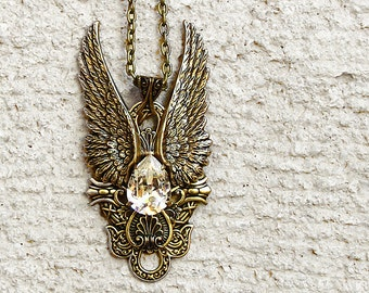 20%OFF Steampunk Wings Pendant //Swarovski Crystal // Vintage Style Statement Long Brass Pendant Necklace // Gothic Jewellery