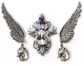 Purple Swarovski Wing Jewelry Set Victorian Wedding necklace Purple Bridal Jewelry Set Silver Tanzanite Wings Earrings Bridal earrings