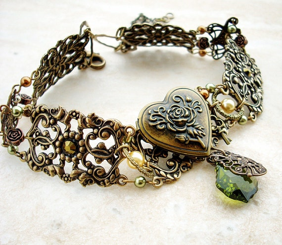 Brass Choker Heart Locket Personalized Women's Green and Gold Choker Victorian Gothic Jewelry Filigree Choker Gift mom wife girlfriend