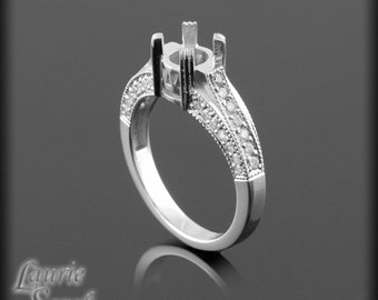 Diamond Engagement Ring Semi Mount With Milgrain and Double Prongs - LS279