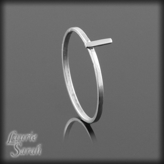 "Laurie Sarah Designs Lower Case Letter ""L"" Monogram Ring in Solid 14k White Gold - LS2394"