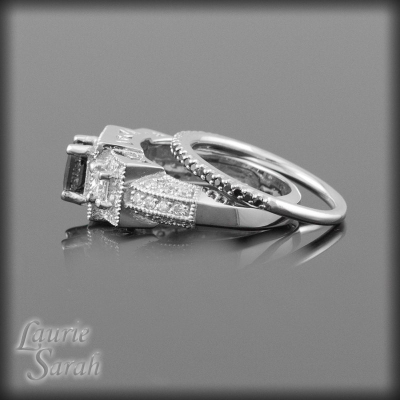 Princess Cut Black Diamond Engagement Ring by LaurieSarahDesigns