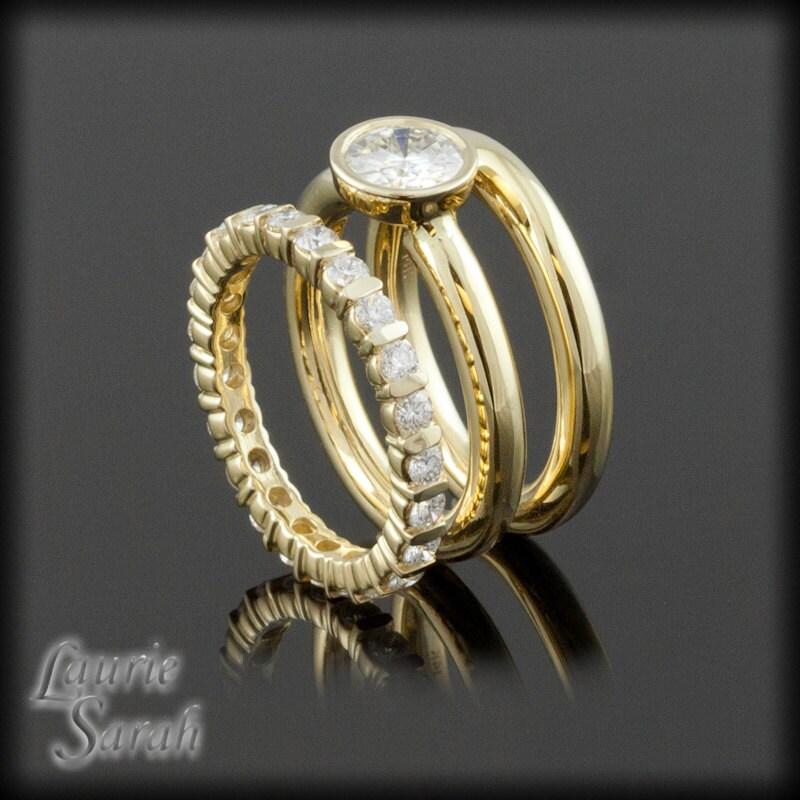 Forever Brilliant Moissanite Three Ring Wedding Set Bezel Set