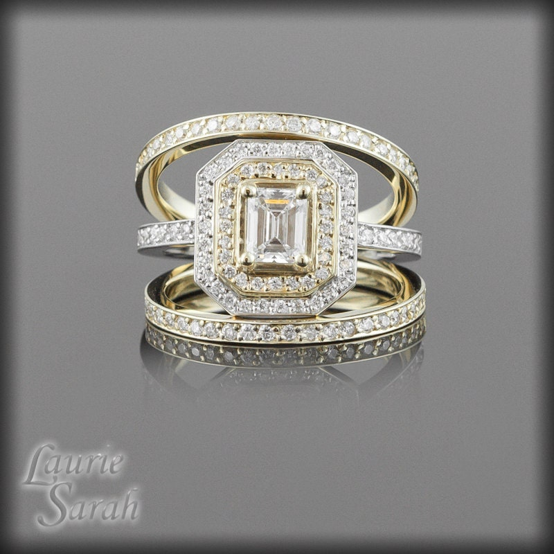 Engagement Ring Emerald Cut Diamond Wedding Ring Set with Two