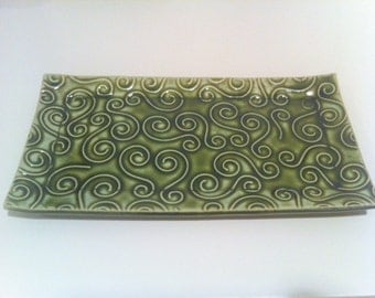 Green Textured Swirl Ceramic Pottery Butter Dish Plate