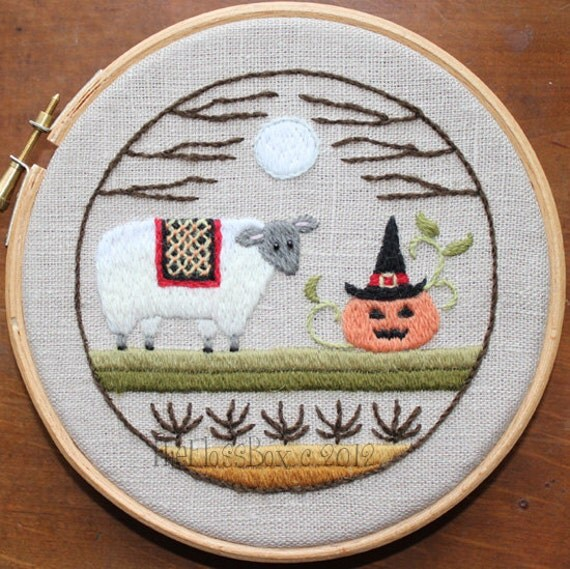 A Sheepish Halloween Crewel Embroidery Pattern and Kit