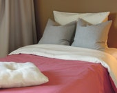 Ready-Made Twin Hemp Cotton Simple Duvet Cover Set, Raspberry and Natural