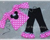 Custom Boutique Minnie Mouse Hot Pink Dots Zebra Peasant Pant Set