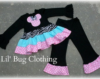 Custom Boutique Clothing Minnie Mouse Zebra Teal  Pink Dots Tiered Top and Leggings Girl