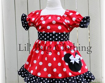Custom Boutique Clothing  Red White Polka  Dot Minnie Mouse Peasant Dress
